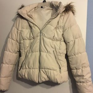 H&M padded jacket with fur hood